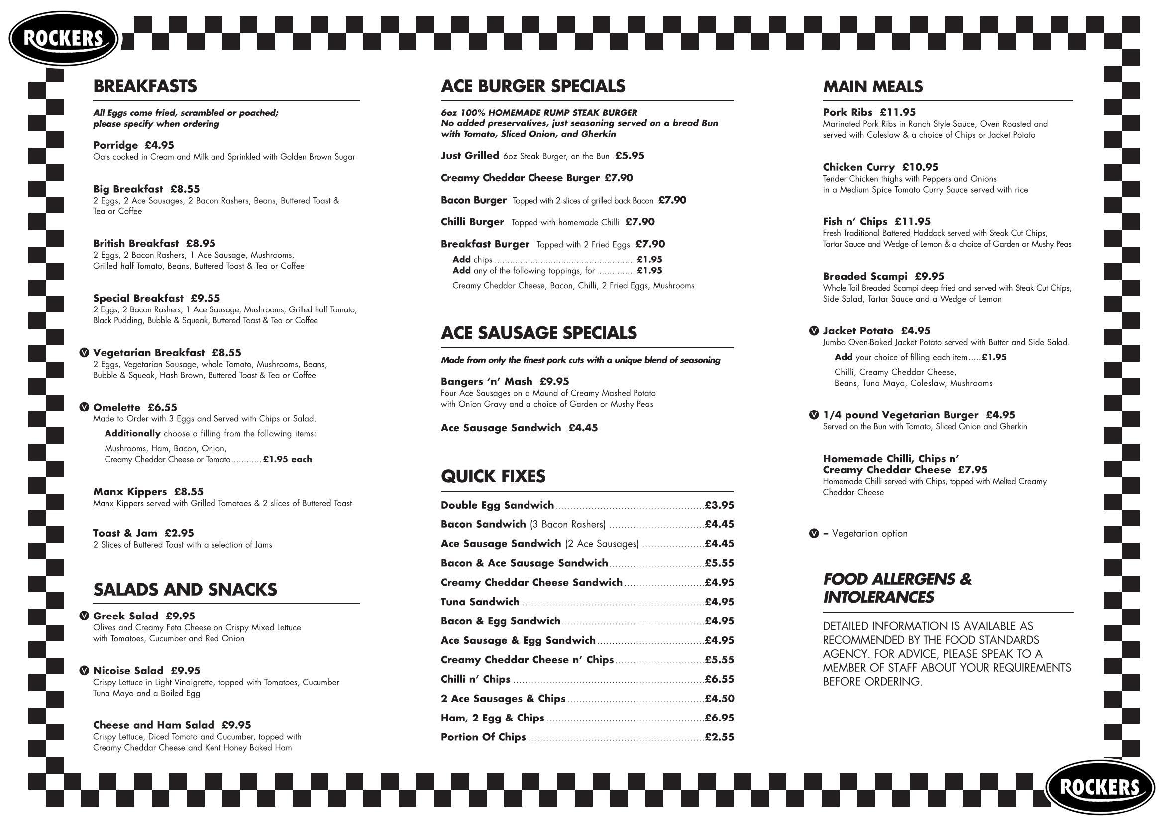 Ace Cafe Menu